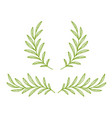 green hand drawn olive branches and wreath vector image vector image