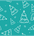green pine seamless pattern in doodle style vector image vector image
