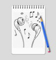 hand drawn headphones and music notes on realistic vector image