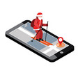 isometric santa claus skiing santa city mobile vector image vector image