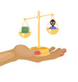 law and justice with scales law book and criminal vector image vector image