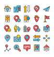 maps and navigation colored icons set 7 vector image vector image