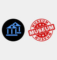 museum buildings icon and distress museum vector image vector image