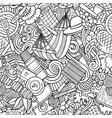 picnic hand drawn doodles seamless pattern bbq vector image vector image