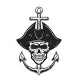 pirate skull with anchor design element for logo vector image vector image