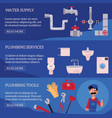 plumber concept infographic posters set vector image vector image