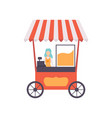 popcorn cart with female seller street food vector image vector image