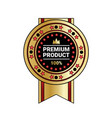 premium product quality sticker golden medal vector image
