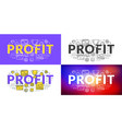 profit flat line concept for web banner and vector image vector image