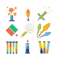 Pyrotechnics and fireworks vector image vector image