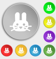 Rabbit icon sign Symbol on eight flat buttons vector image vector image