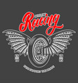 racing emblem template with winged motorcycle vector image vector image