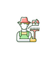 rural workers rgb color icon vector image