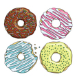 Set of cartoon colorful tasty donuts on the white vector image vector image