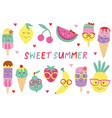 set of isolated cute ice cream and fruits vector image