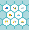 set of property icons flat style symbols with pool vector image