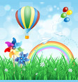 spring landscape with hot air balloon vector image vector image