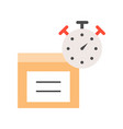 stopwatch and parcel box flat icon estimate vector image vector image