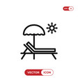 sunbed icon vector image vector image