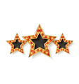three gold red stars on white background vector image