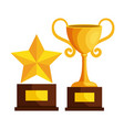 trophy cup and star award icon vector image