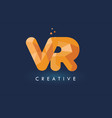 vr letter with origami triangles logo creative vector image vector image