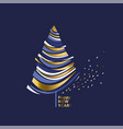 wave shape gold and blue christmas tree vector image