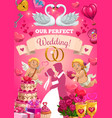 wedding card with bride and groom love symbols vector image vector image