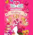 wedding card with bride and groom love symbols vector image