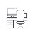 workplace with computer and chair line icon vector image