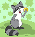 Cute raccoon sits on a green meadow and eats vector image