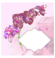 frame with hand-drawing flower vector image