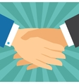 Handshake business concept in flat design style vector image