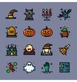 Thin line Halloween icons set vector image