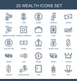 25 wealth icons vector image vector image