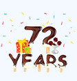 72 years happy birthday card vector image vector image