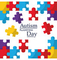 autism awareness poster with puzzle pieces vector image vector image