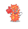 bacteroides presented in cartoon with foam finger vector image vector image