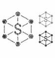 bank network mosaic icon raggy parts vector image vector image