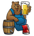 bear cartoon lean on the beer barrel vector image vector image