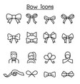 bow ribbon icon set in thin line style vector image vector image