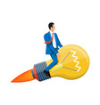 businessman sits on flying rocket light bulb vector image