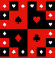 card suits red black white chess board background vector image vector image