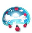 cartoon paper landscape ladybug vector image vector image