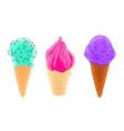cartoon sketch set of three ice cream cones with vector image vector image