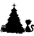 cat and christmas tree - silhouette vector image vector image