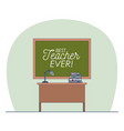 classroom with chalkboard with text of best vector image