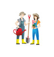 couple gardeners concept flat vector image vector image