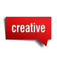 creative red 3d speech bubble vector image vector image