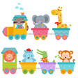 cute animals on train vector image vector image